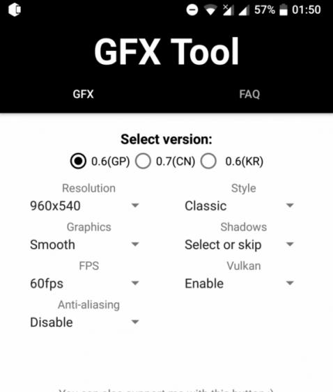 GFX tool Setting