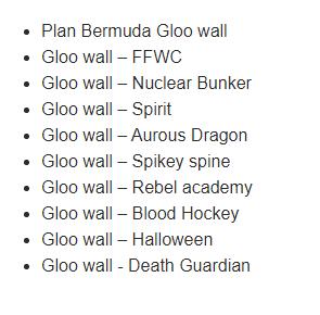 Free Fire All Gloo Wall List
